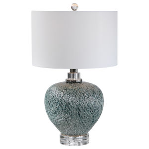 Almera Polished Nickel and Dark Teal Table Lamp