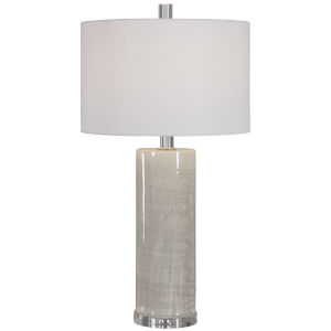 Zesiro Beige and Polished Nickel Table Lamp