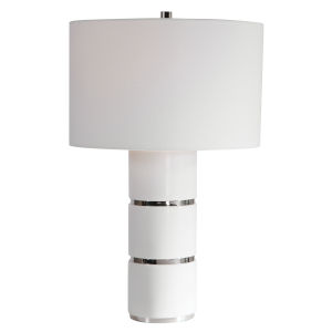 Grania White Marble and Polished Nickel Table Lamp