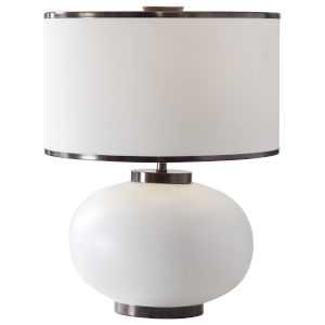 Rhiannon Aged Bronze and White Ceramic Table Lamp