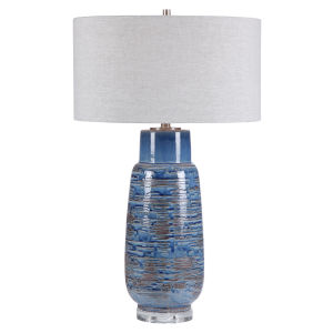 Magellan Brushed Nickel One-Light Table Lamp with Round Hardback Drum Shade