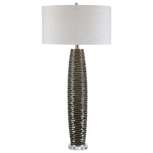 Achilleus Brushed Nickel One-Light Table Lamp with Round Hardback Drum Shade