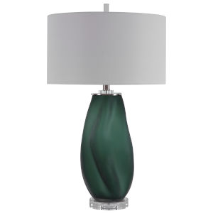 Esmeralda Green and Brushed Nickel One-Light Table Lamp with Round Hardback Drum Shade