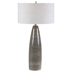 Cosmo White and Brushed Nickel One-Light Table Lamp with Round Hardback Drum Shade