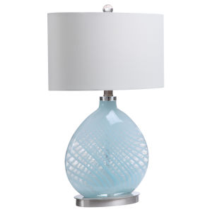 Aquata Blue and Brushed Nickel One-Light Table Lamp with Oval Hardback Shade