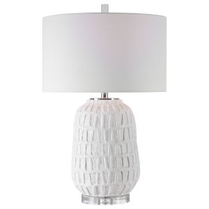 Caelina Polished Nickel One-Light Table Lamp with Drum Hardback Rolled Edge Shade