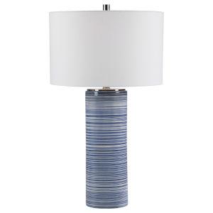 Montauk Polished Nickel One-Light Table Lamp with Round Drum Hardback Shade