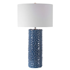 Ciji Indigo and White One-Light Table Lamp with Round Drum Hardback Shade