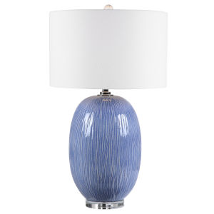 Westerly Polished Nickel and White One-Light Table Lamp with Round Drum Hardback Shade