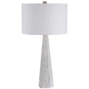 Apollo Off-White and Light Gray One-Light Table Lamp with Round Drum Hardback Shade