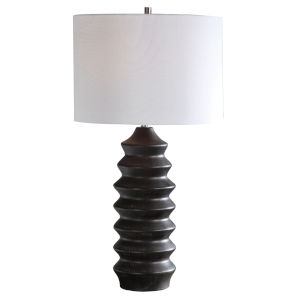 Mendocino Rustic Black One-Light Table Lamp with Round Drum Hardback Shade