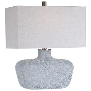 Matisse Blue Green and White One-Light Table Lamp with Rectangle Hardback Shade