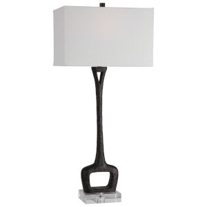 Darbie Aged Black One-Light Table Lamp with Rectangle Hardback Shade