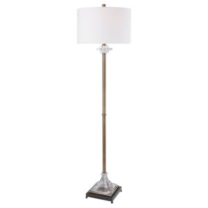 Rafferty Antique Brass and White One-Light Floor Lamp with Round Drum Hardback Shade