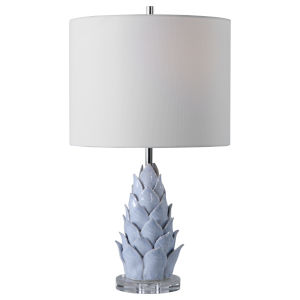 Fera Light Blue One-Light Accent Lamp with Round Hardback Rolled Edge Shade