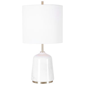 Eloise Gray and Brushed Light Brass One-Light Table Lamp with Round Hardback Shade and Linning Background