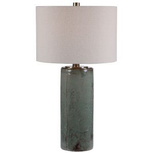 Callais Crackled Aqua Blue Glaze One-Light Table Lamp with Round Hardback Drum Shade