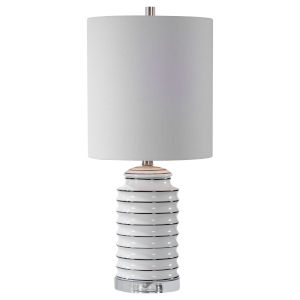 Rayas Brushed Nickel One-Light Table Lamp with Round Drum Hardback Shade