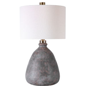 Bandera Aged Bronze and Brushed Brass One-Light Table Lamp with Round Drum Hardback Shade