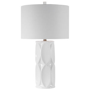 Sinclair Glossy White One-Light Table Lamp with Round Drum Hardback Shade