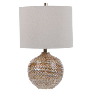 Lagos Brown and Light Brushed Brass One-Light Table Lamp with Round Drum Hardback Shade