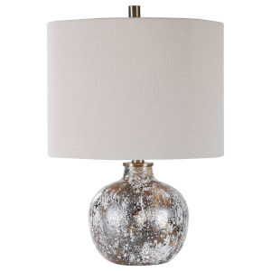 Luanda Mottled White, Aged Chocolate Bronze and Brown One-Light Accent Lamp with Round Drum Hardback Shade