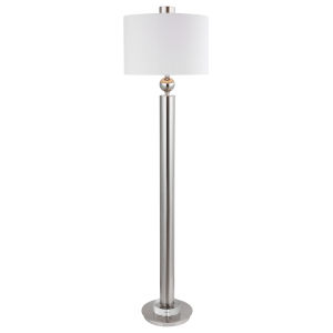 Silverton Brushed Nickel One-Light Floor Lamp with Round Drum Hardback Shade