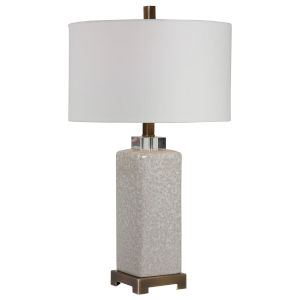 Irie Antique Brushed Brass One-Light Table Lamp with Round Drum Hardback Shade