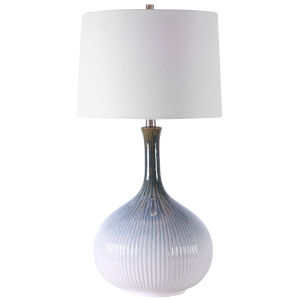 Eichler Brushed Nickel Plated One-Light Table Lamp with Round Hardback Shade