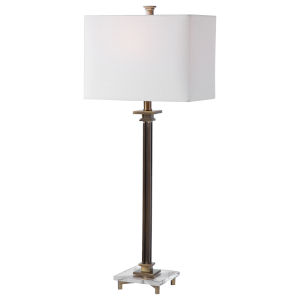 Phillips Antique Brass and White One-Light Table Lamp with Rectangle Hardback Shade and White Linning Background