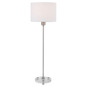Wick Brushed Nickel One-Light Buffet Lamp with Fabric Shade