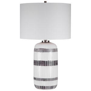 Granger Aged White Glaze One-Light Striped Table Lamp with Round Drum Hardback Shade