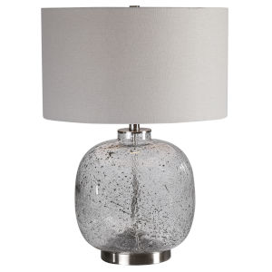 Storm Brushed Nickel One-Light Glass Table Lamp
