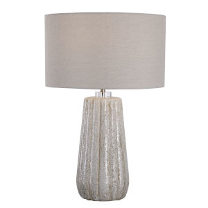 Pikes Ivory, Taupe and Brushed Nickel One-Light Table Lamp