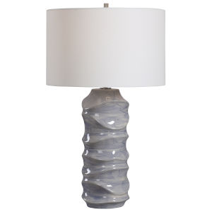 Waves Blue and White One-Light Table Lamp