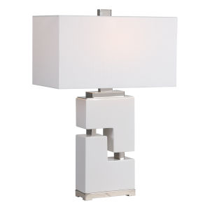 Tetris White One-Light Table Lamp