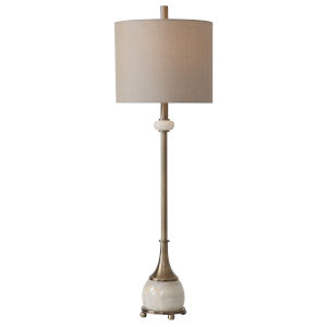 Natania Antique Brass Table Lamp with Polished White Marble