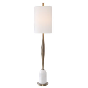 Minette Antique Brass Table Lamp with Polished White Marble