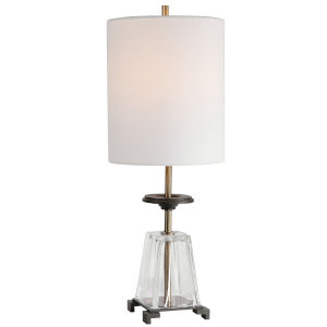 Hancock Transparent, Black and Brass Table Lamp