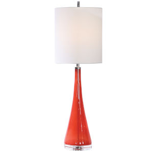 Ariel Brushed Nickel and Coral Glass Table Lamp