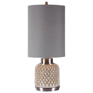 Lileth Cream White Glaze with Brushed Nickel Plated One-Light Buffet Lamp with Round Drum Hardback Shade