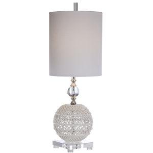 Mazarine White and Polished Nickel One-Light Buffet Lamp with Round Drum Hardback Shade