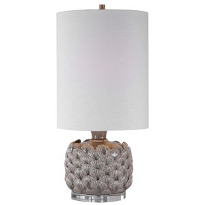 Bondi Light Gray Glaze with Brushed Nickel One-Light Buffet Lamp with Round Drum Hardback Shade