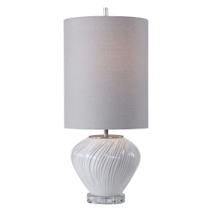 Lucerne White Glaze with Taupe and Brushed Nickel One-Light Buffet Lamp with Round Hardback Shade and Linning Background