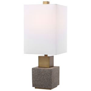 Auckland Mottled Dark Gray and Sandy Brown One-Light Buffet Lamp with Rectang Hardback Rolled Edge Shade