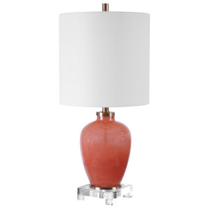 Dominica Brushed Brass One-Light Accent Lamp with Drum Hardback Shade