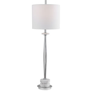 Magnus Light Gray One-Light Buffet Lamp with Round Drum Hardback Shade