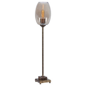 Marconi Antique Brushed Brass One-Light Buffet Lamp with Glass Shade