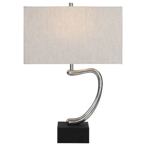 Ezden Silver and Black One-Light Table Lamp