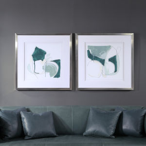 Idlewild Deep Teal and Brushed Silver Framed Print, Set of 2